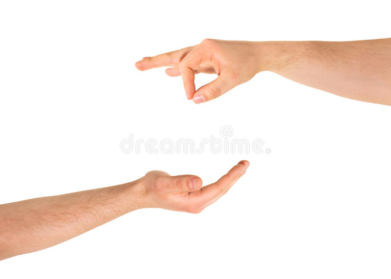 Begging for help hand gesture isolated. Begging for alms help caucasian hand gesture composition isolated over white background royalty free stock photography
