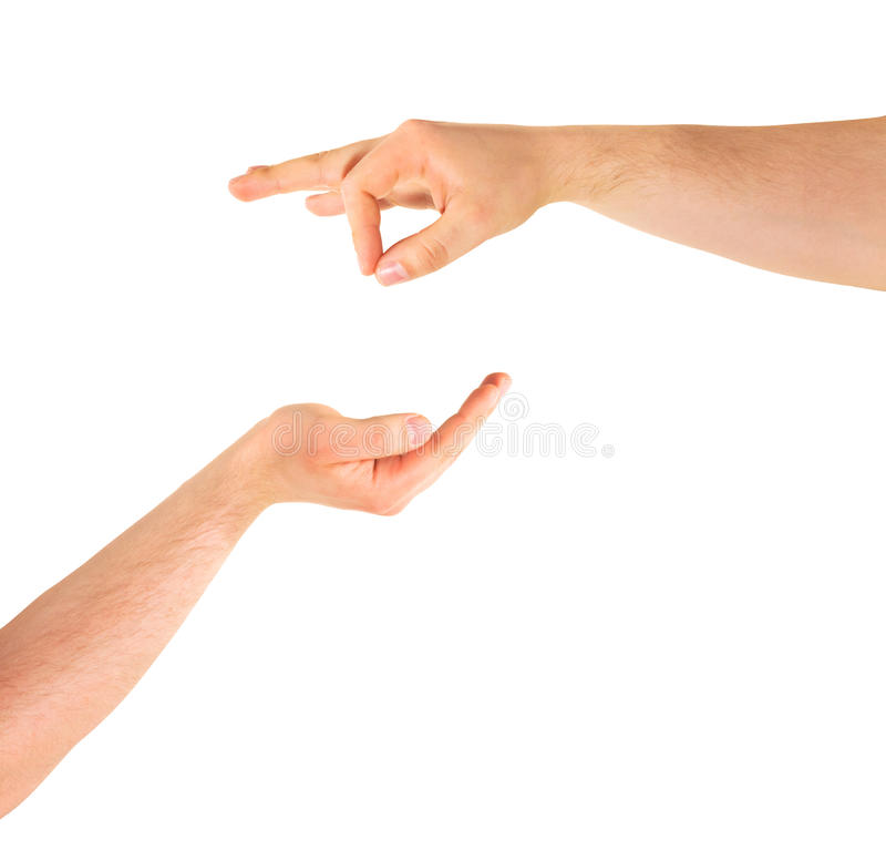 Begging for help hand gesture isolated. Poverty: begging for alms help caucasian hand gesture composition isolated over white background stock images