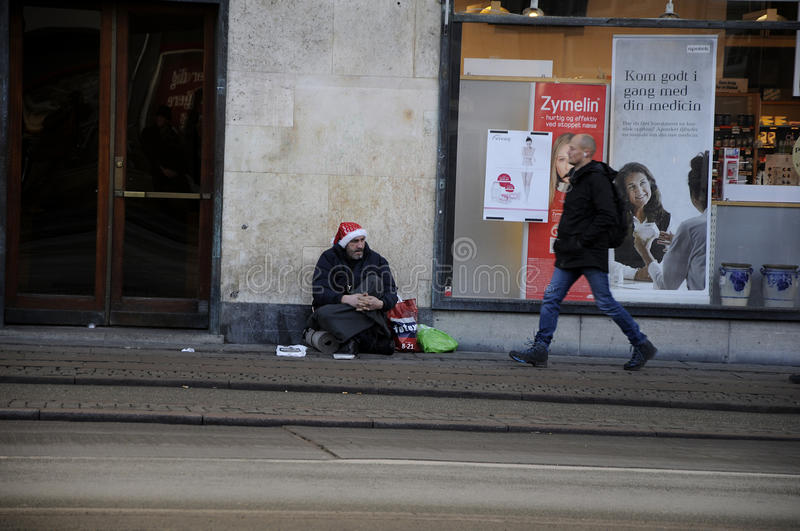 Begging is not allowed in Denmark. Copenhagen / Denmark_ 06th. December 2016 - Begging is not allowed in Denmark , people are seen on streets. Photo. Francis royalty free stock photography
