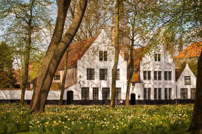 Begijnhof in Bruges, Belgium. View of the Begijnhof in Bruges, Belgium stock images