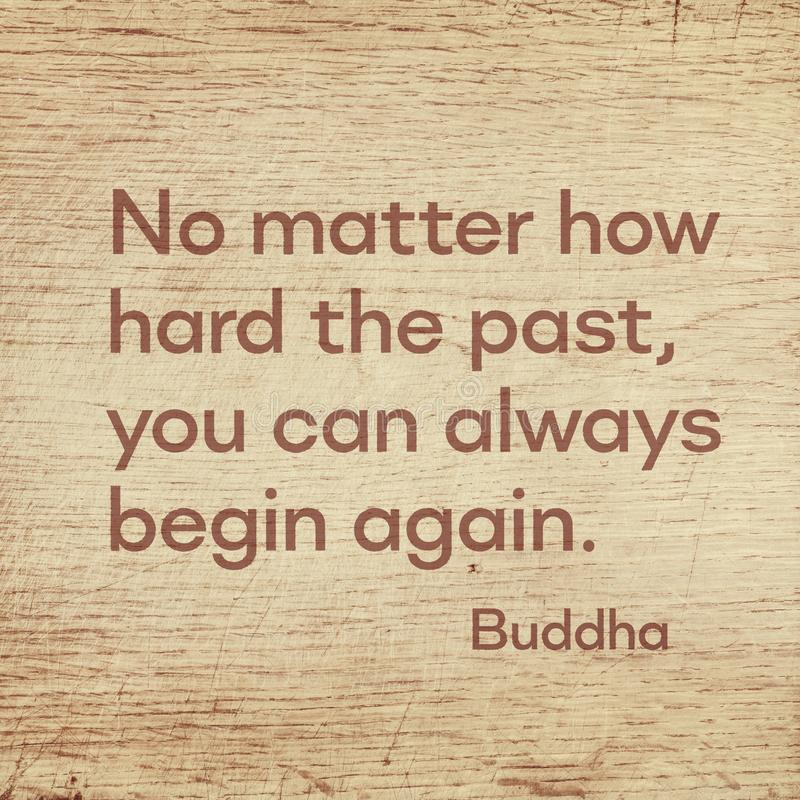 Begin again Buddha wood. No matter how hard the past, you can always begin again - famous quote of Gautama Buddha printed on grunge wooden board vector illustration