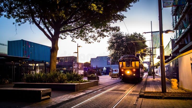 BEGIN de Christchurch-Tram royalty-vrije stock foto's