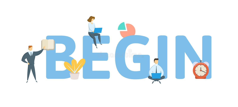 begin Konzept mit Leuten, Buchstaben und Ikonen Flache Vektorillustration Getrennt auf wei?em Hintergrund lizenzfreie abbildung