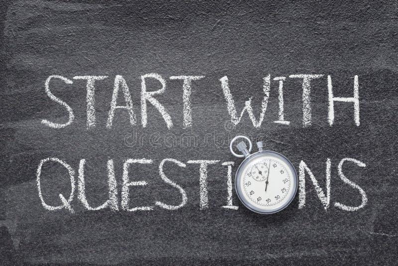 Begin met vragenhorloge stock fotografie