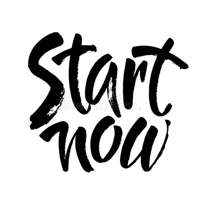 Download Begin Nu Hand Getrokken Borstel Het Van Letters Voorzien Ontwerp Inktillustratie Vector Illustratie - Illustratie bestaande uit gezond, banner: 114228231
