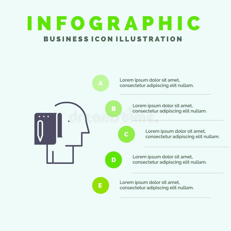 Begin, Start From Scratch, List, Note, Start Solid Icon Infographics 5 Steps Presentation Background vector illustration