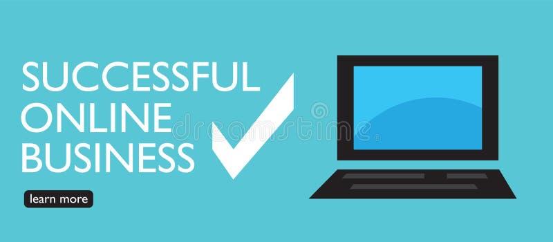 Begin uw eigen succesvolle online zaken Vectorbanner in modieuze blauwe kleur royalty-vrije illustratie