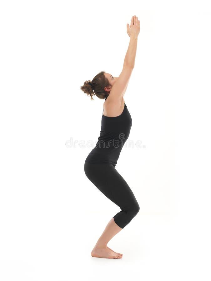 Beginer hatha yoga posture stock photography