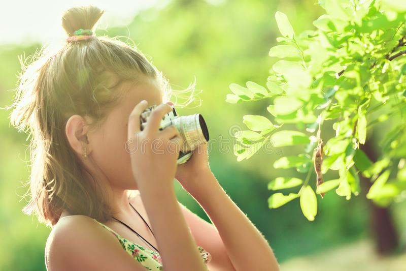 Beginfotograaf Een klein meisje neemt beelden van een boom o royalty-vrije stock fotografie