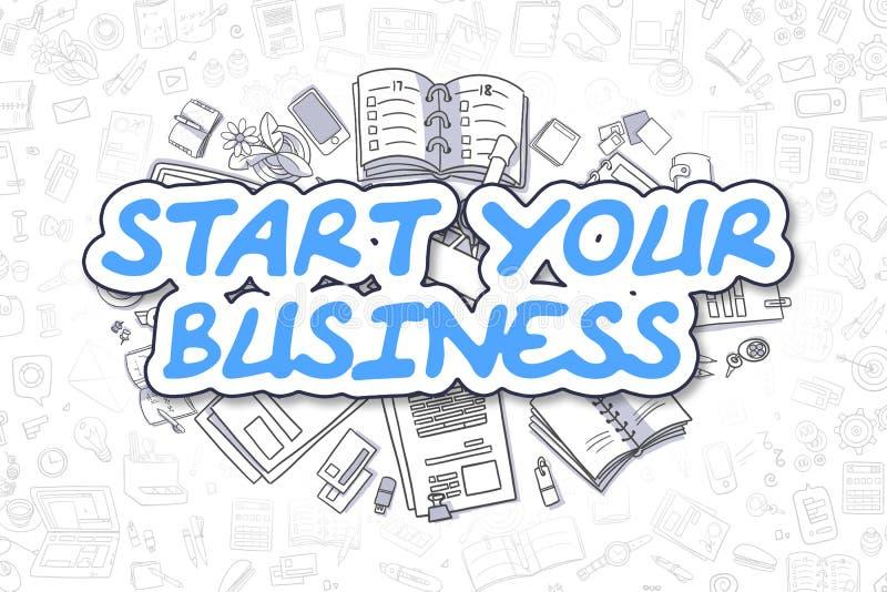 Beginnen Sie Ihr Geschäft - Karikatur-Blau-Text Die goldene Taste oder Erreichen für den Himmel zum Eigenheimbesitze stock abbildung