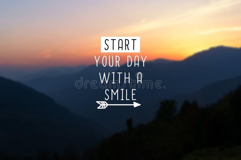 Beginnen Sie Ihr Tag mit einem Lächeln lizenzfreie stockbilder