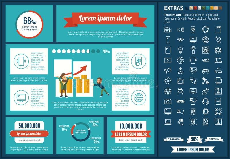Beginnen Sie oben flache Design Infographic-Schablone stock abbildung