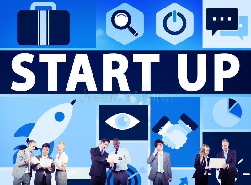 Beginnen Sie oben Geschäfts-neues Produkteinführungs-Technologie-Konzept lizenzfreies stockfoto