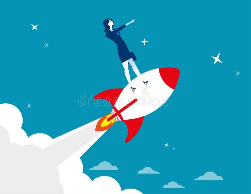 Beginnen Sie oben Geschäftsfrau, die durch auf Raketenschiffsfliegen steht lizenzfreie abbildung