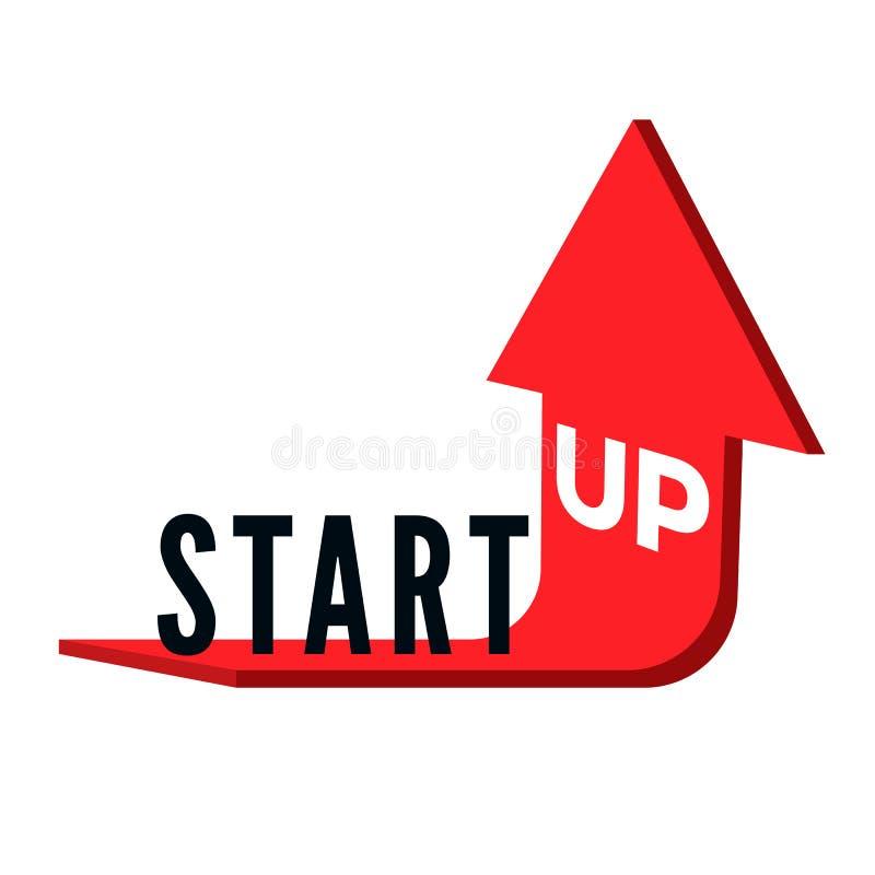 Beginnen Sie oben Geschäftskonzept Simsen Sie beginnen oben auf rotem Pfeil, der aufwärts verbogen und verwiesen wird Auch im cor stock abbildung
