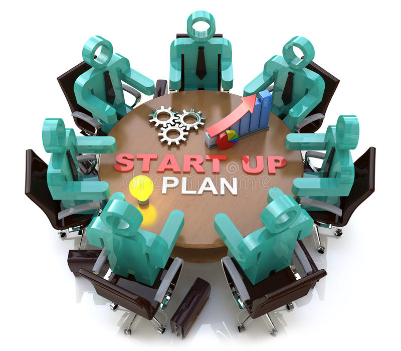 Beginnen Sie oben Produkteinführungs-Geschäfts-Ideen-Plan-Kreativitäts-Konzept vektor abbildung