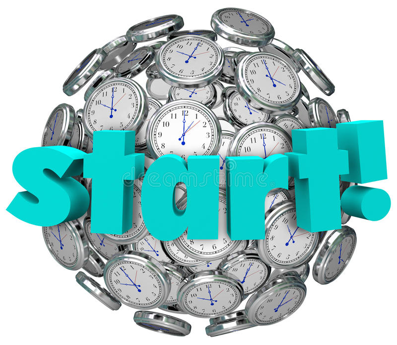 Beginnen Sie Wort-Uhr-Zeit, Spiel oder Herausforderung anzufangen stock abbildung