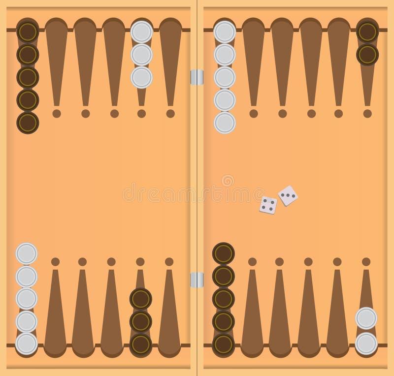 Beginnende positie in het spel van backgammon royalty-vrije illustratie