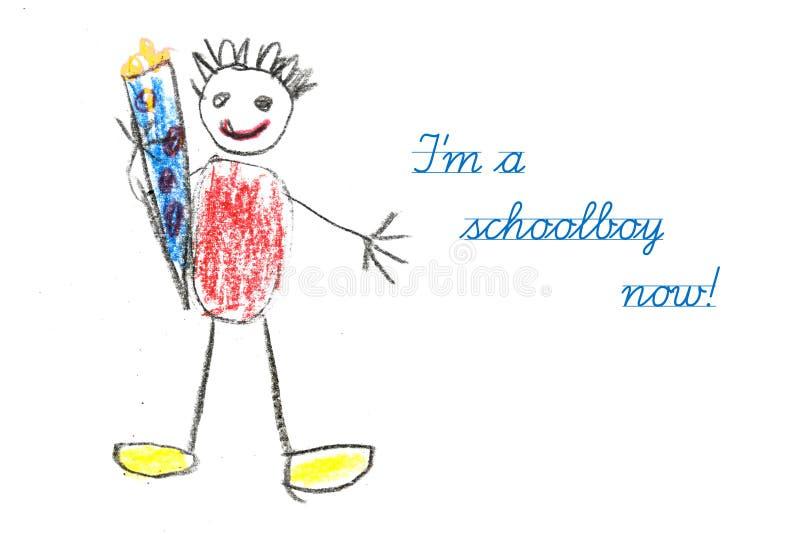 Beginnende school met de tekening van het kind en tekst ben ik een schooljongen nr royalty-vrije stock foto