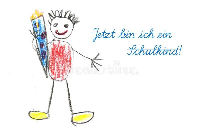 Beginnende school met tekening en Duitse bak i van het kind van tekstjetzt royalty-vrije stock afbeelding