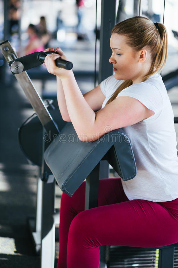 Beginner dziewczyna ćwiczy w sprawności fizycznej gym z dumbbells zdjęcie royalty free