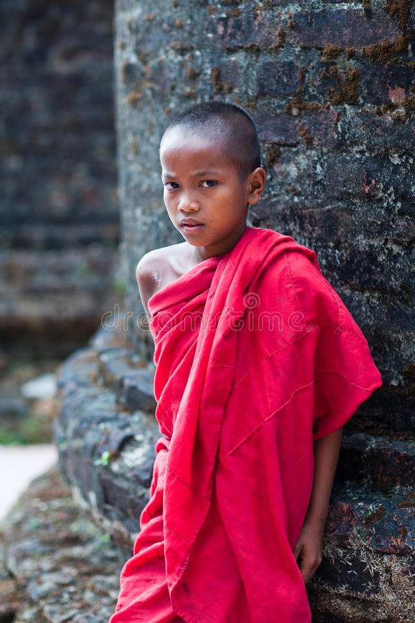 Beginnermonnik, Myanmar stock foto