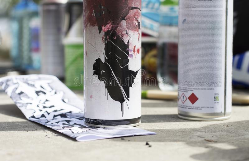 Sketch under paint can. Beginning of graffiti process stock images