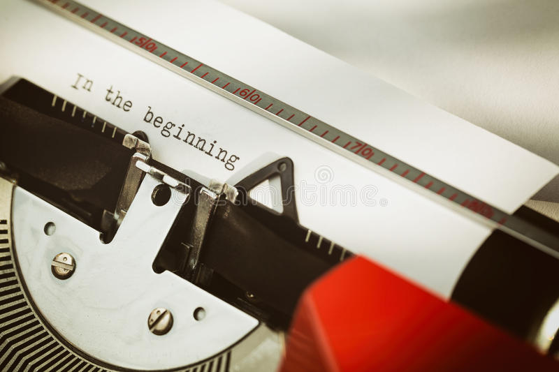 Beginning of a Letter or a Book. Beginning of a letter - religious (reference to the Bible) or otherwise, typed on a typewriter royalty free stock image