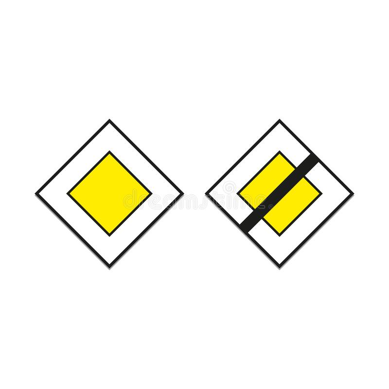 The beginning of the main road and end of main road. Road signs priority. Doodle style. / vector illustration