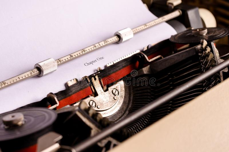 Beginning a new story. Still life with typewriter. Beginning a new book. blogging, text, writing royalty free stock image