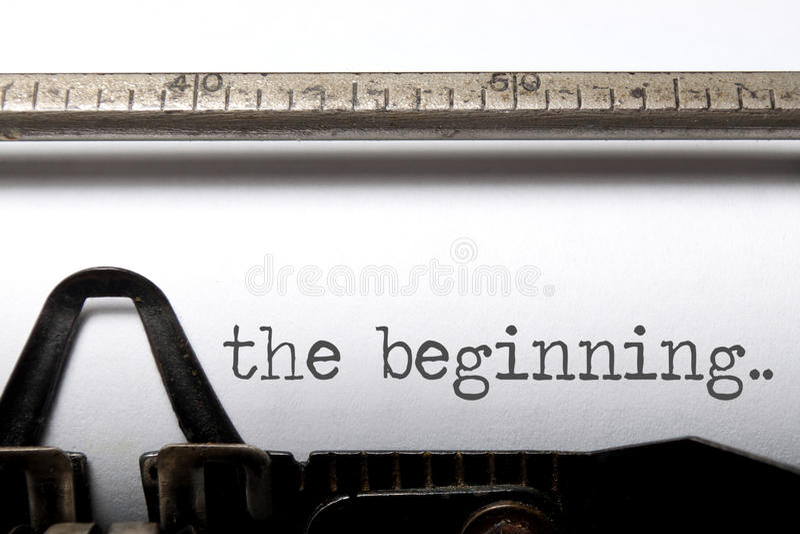 The beginning. Printed on an old typewriter royalty free stock image