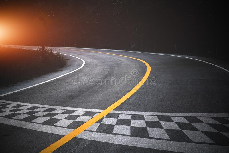 The beginning of racing on the road racetrack background royalty free stock images