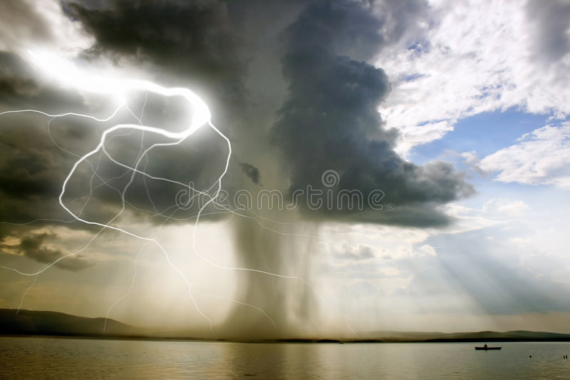The beginning of the tornado. Over the lake royalty free stock photo