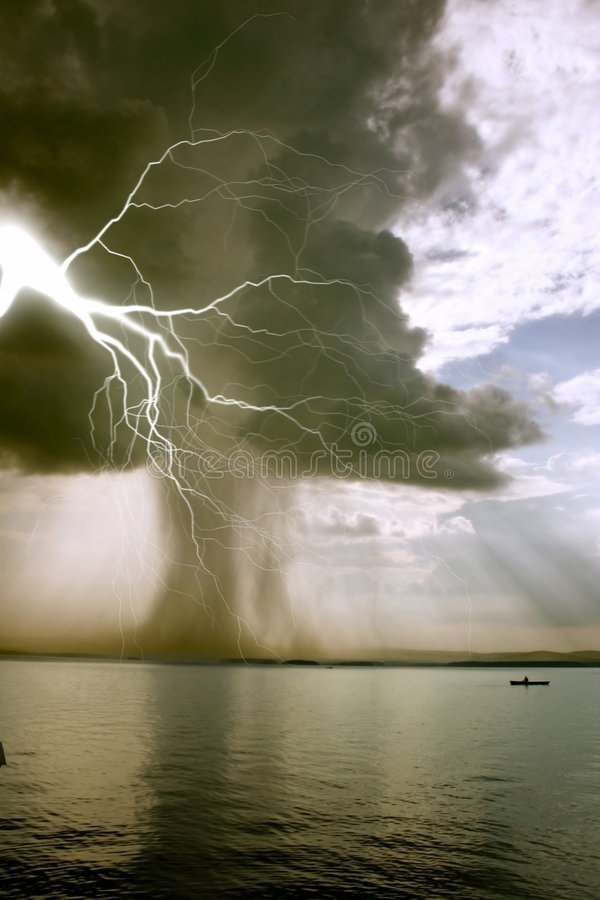 The beginning of the tornado. Over the lake royalty free stock images
