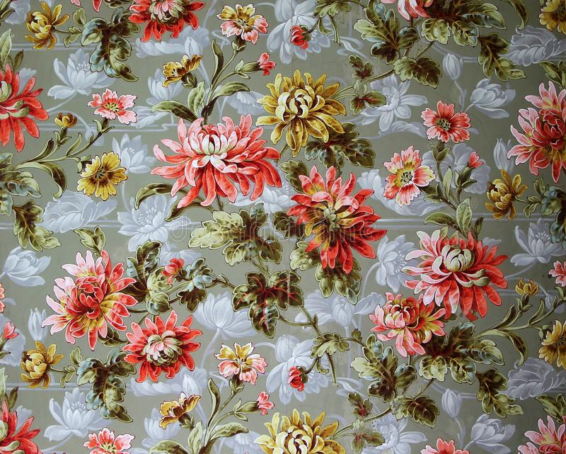 Original textile fabric ornament of the Modern style. Crock is hand-painted with gouache. Beginning of the XX century: Original textile fabric ornament of the stock photography