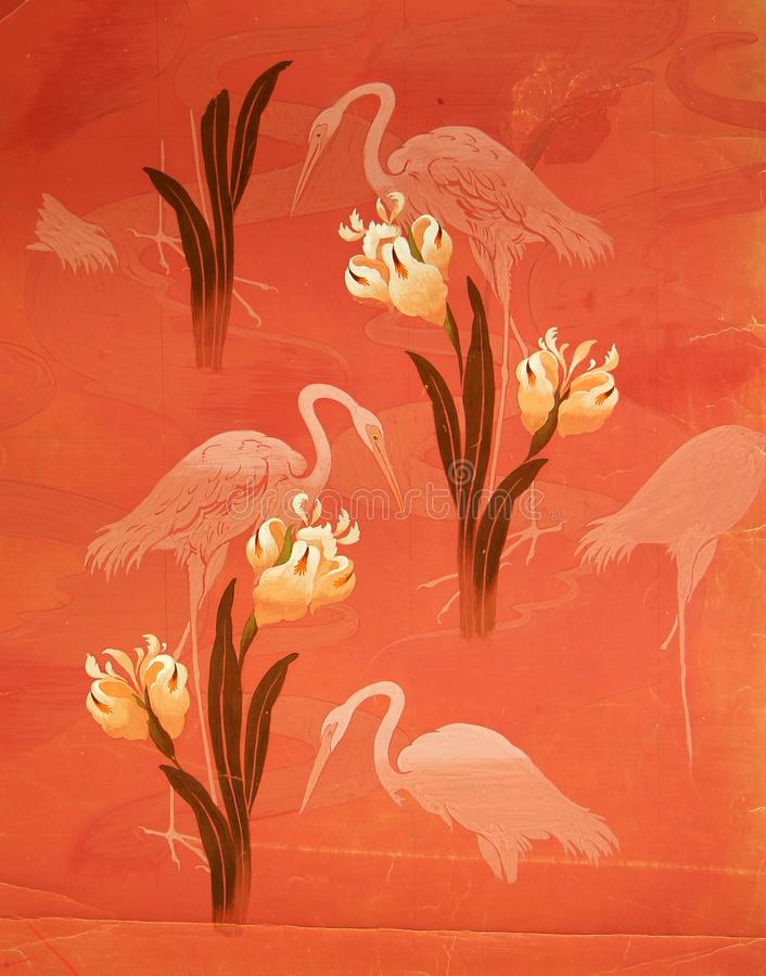 Original textile fabric ornament of the Modern style. Crock is hand-painted with gouache. Beginning of the XX century: Original textile fabric ornament of the royalty free stock photos