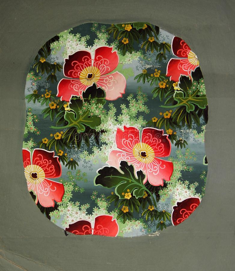 Original textile fabric ornament of the Modern style. Crock is hand-painted with gouache. Beginning of the XX century: Original textile fabric ornament of the royalty free stock photography