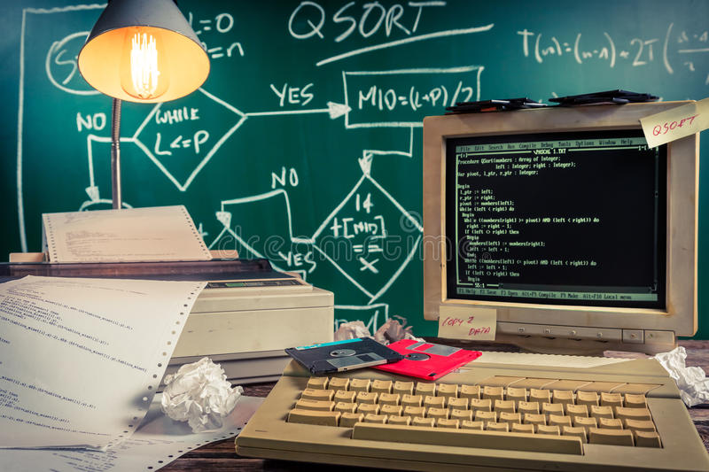 Beginnings of computer languages in schools. Retro style royalty free stock images