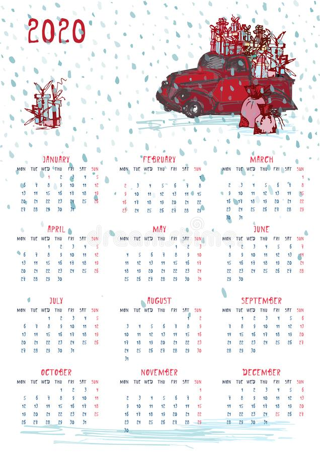Beginnt roter Traktor whith der Planer mit 2020 Kalendern Weihnachts, Baum des neuen Jahres und celebrateted Geschenke Woche am M lizenzfreie abbildung