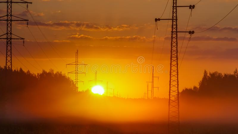 Begins a new sunny day. Sun disc appears over the horizon royalty free stock images