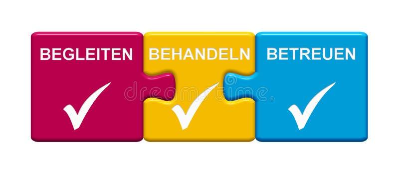 Begleitung Vertretung mit 3 Puzzlespiel-Knöpfen, Behandlung, Sorgfaltdeutscher lizenzfreie abbildung