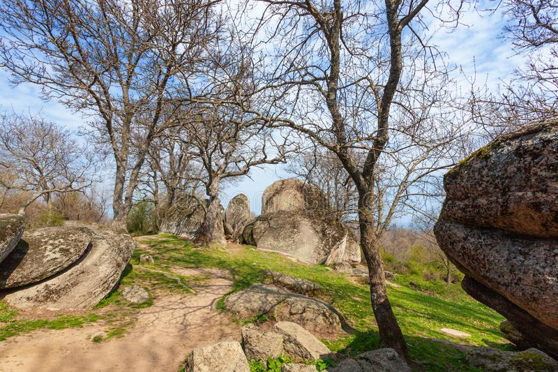 Beglik tash -古老巨石Thracian圣所 免版税图库摄影