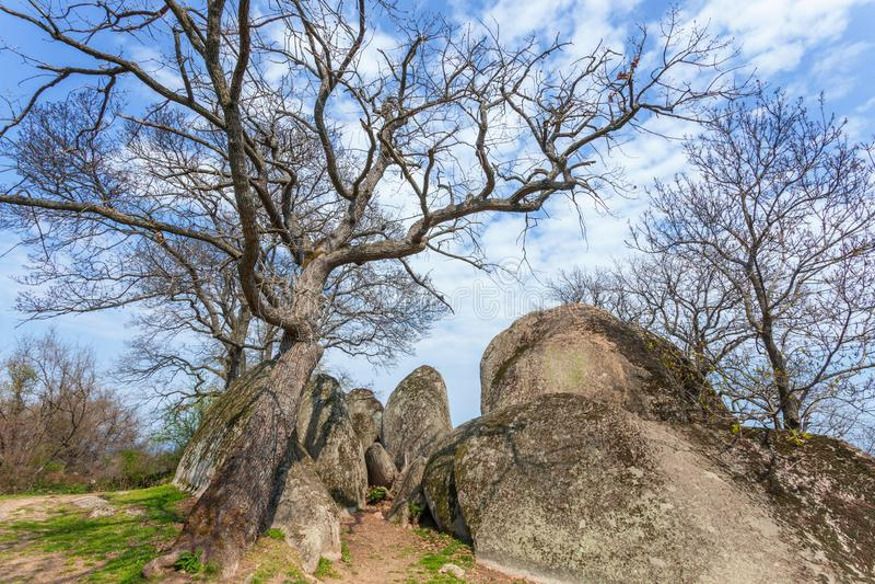 Beglik-tash - altes Megalithen-Thracian-Schongebiet lizenzfreies stockfoto