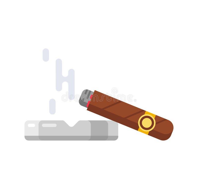 Begonnen sigaar met rook Tekenoverheersing, vertrouwen in casino's, het gokken vector illustratie