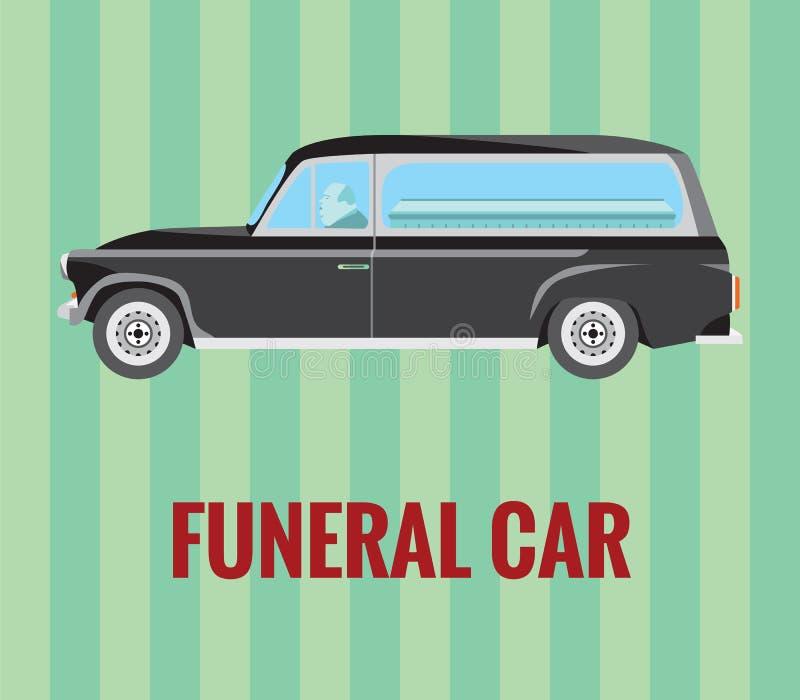 Begräbnis- Auto (Leichenwagen) mit einem Fahrer und einem Sarg (Vektorzeichnung) stockfotos