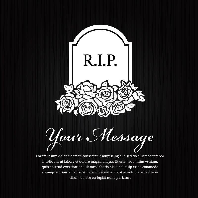 Begräbnis- Karte - ernster Stein mit dem Wort R I P und stieg auf schwarzes hölzernes Hintergrundvektordesign vektor abbildung
