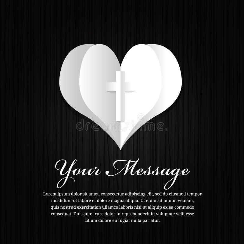 Begräbnis- Karte - Papierherz- und Kreuzzeichen auf schwarzem hölzernem Hintergrundvektor entwerfen lizenzfreie abbildung