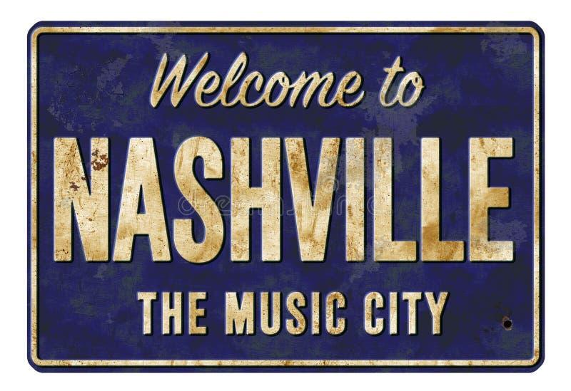 Begrüßen Sie nach Nashville das Musik-Stadt-Weinlese-Zeichen stockbild