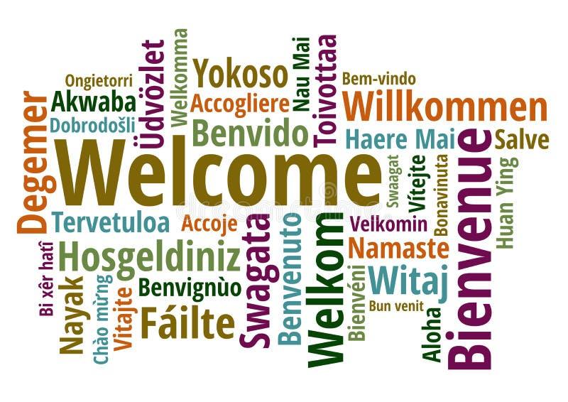 Begrüßen Sie in unterschiedlichem Sprachen-wordcloud Vektor stock abbildung