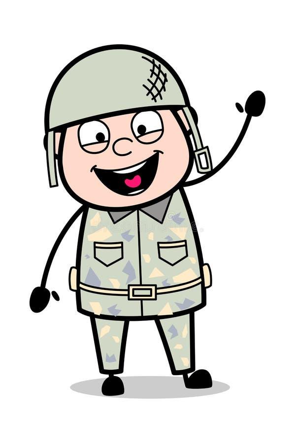 Begrüßung - netter Armee-Mann-Karikatur-Soldat Vector Illustration vektor abbildung